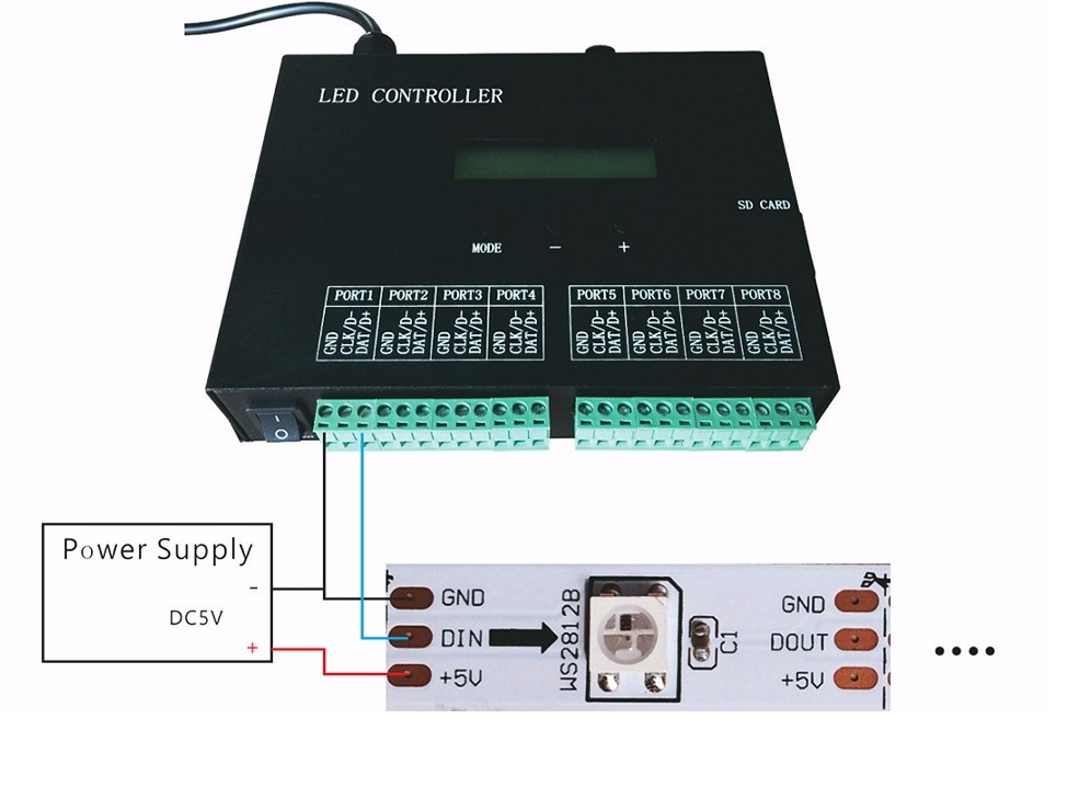 competitive price 5687b af215 Digital LED stripes controller DMX, 8192 pixels, SD card ...